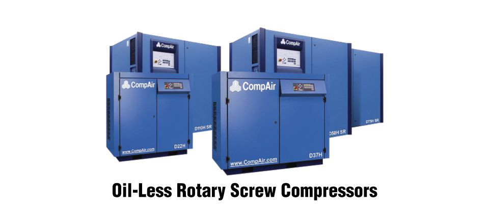 oil-less rotary screw compressors